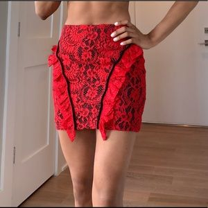PLT Red lace Mini Skirt